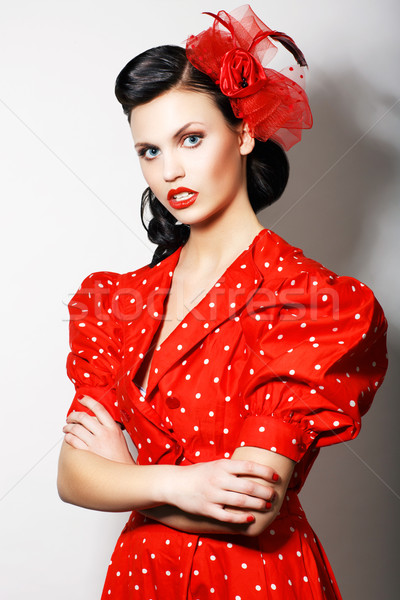 Elegant Strict Lady in Rd Retro Dress with crossed hands. Proud Brunette Stock photo © gromovataya