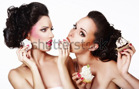 Bonding. Allure. Faces of Two Sensual Pretty Women Closeup. Aspiration Stock photo © gromovataya