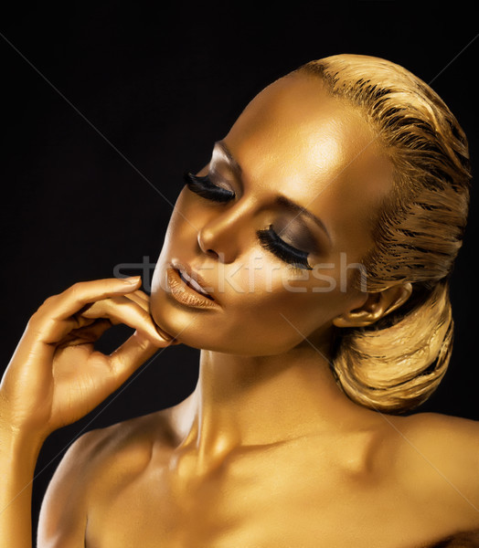 Stage. Theater. Luxurious Woman in her Dreams. Golden Color. Jewelry Stock photo © gromovataya