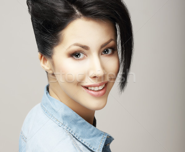 Toothy Smile. Face of Delighted Friendly Woman with Natural Clean Skin. Freshness Stock photo © gromovataya