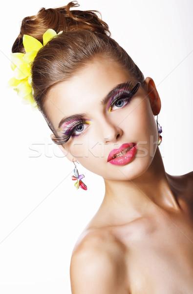 Irányzat divat modell hosszú szempilla szem Stock fotó © gromovataya
