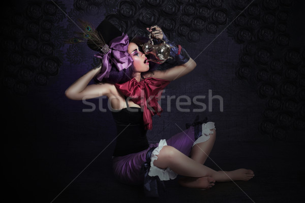 Sorcery. Mysterious Quaint Magician with Cryptic Jar Stock photo © gromovataya