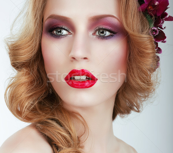 Visage. Gorgeous woman with Professional Evening Make Up Stock photo © gromovataya