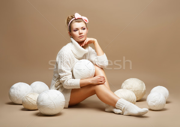 Embroidery. Woman sitting шт White Cotton Knitwear with Heap Balls of Yarn Stock photo © gromovataya