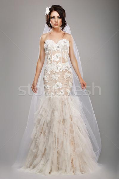 Fashion Model Classy Bride in Long Wedding Dress and Veil Stock photo © gromovataya