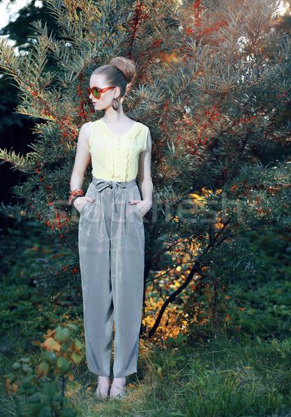 トレンディー スタイリッシュ ファッション モデル エレガントな ストックフォト © gromovataya
