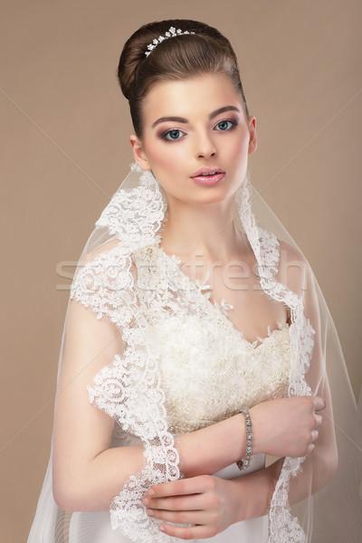 красивая женщина ювелирные платина свадьба лице женщины Сток-фото © gromovataya