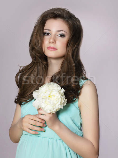 Nostalgia. Young Adorable Teen Girl with Peony Flower Stock photo © gromovataya