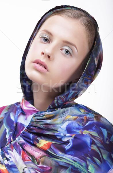 Urban Fashion. Portrait of Teenager Girl in Blue Hood Stock photo © gromovataya