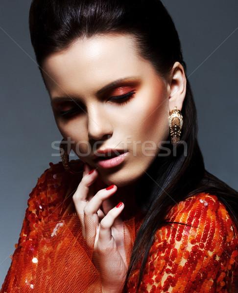 Inspiráció barna hajú fényes magenta ruha csillog Stock fotó © gromovataya