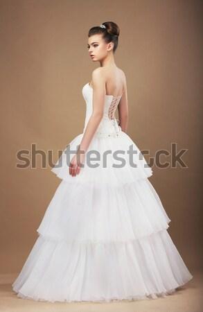 Retrato gracioso branco vestido de noiva casamento Foto stock © gromovataya