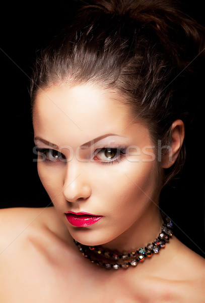 Beauty aristocratic fashionable woman looking. Beauty face Stock photo © gromovataya