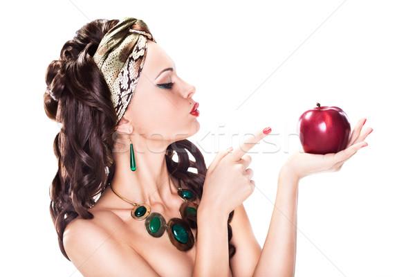 Jungen verlockend Frau Auswahl gesunden Apfel Stock foto © gromovataya
