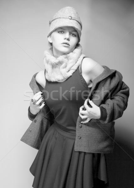 Fashionable Woman Dresser in Retro Coat - Black and White Stock photo © gromovataya