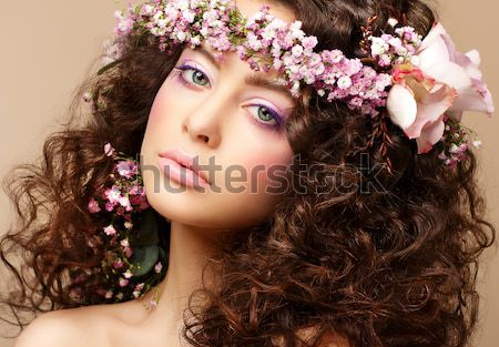 Nymph. Adorable Sensual Brunette with Garland of Flowers looks like Angel Stock photo © gromovataya