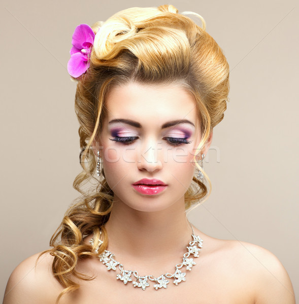 Stock photo: Beauty Lady. Dreaming Woman with Jewelry - Platinum Necklace and Earrings. Tenderness