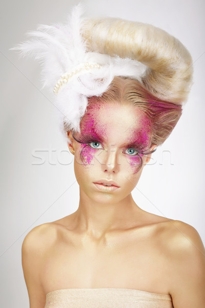 Faceart. Blonde with Skin Colored Pink, False Lashes and White Feather Stock photo © gromovataya