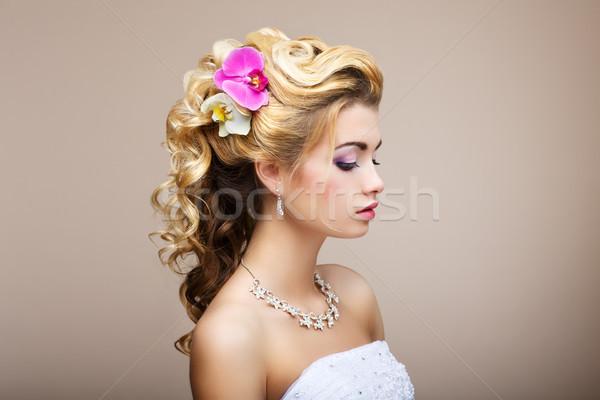 Zdjęcia stock: Harmonia · przyjemność · profil · młodych · pani · biżuteria