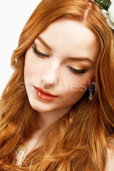 Wellness. Face of Serene Golden Hair Girl with Smooth Clean Healthy Skin. Natural Makeup Stock photo © gromovataya