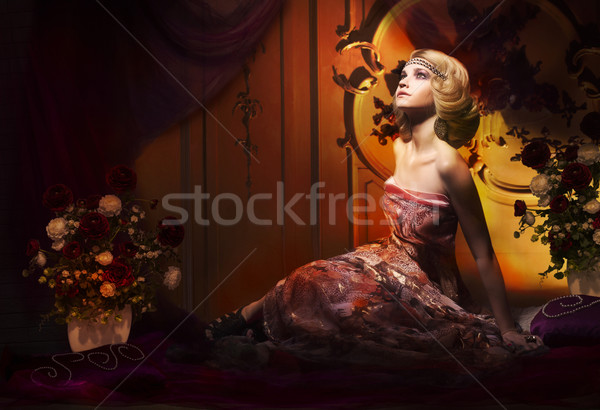 Splendor. Aristocratic Woman in Luxury Vintage Interior Looking Up Stock photo © gromovataya