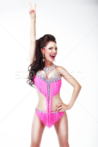 The Winner. Jubilant Woman Showing Victory Sign and Smiling Stock photo © gromovataya