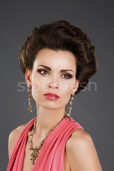 Aristocratic Lady with Glossy Earrings and Necklace Stock photo © gromovataya
