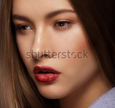 Studio Close Up Portrait of Young Sensual Beauty Stock photo © gromovataya
