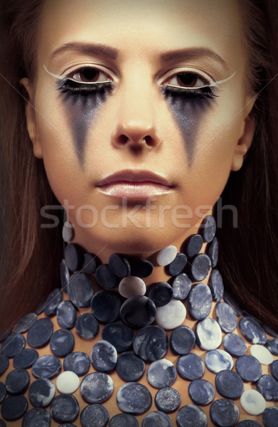 Halloween. Fancy dress party. Young woman - bright blue makeup Stock photo © gromovataya
