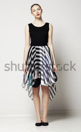 Elegant Woman Fashion Model in Light Striped Cotton Sundress. Vogue Style Stock photo © gromovataya