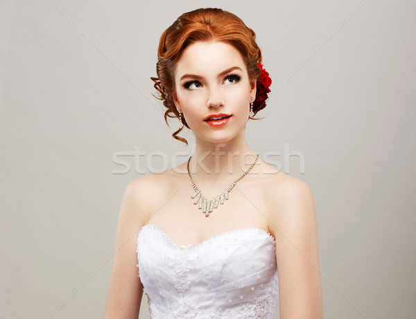 Stock photo: Sentimentality. Romantic Red Hair Woman with Flower in her Head. Femininity
