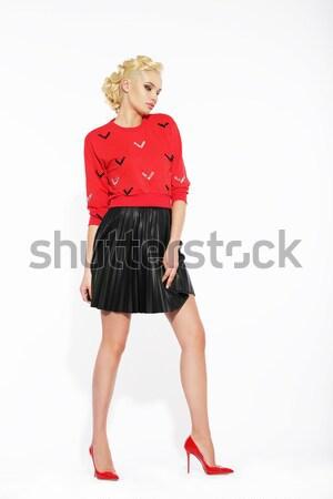 элегантный блондинка черный юбка красный блузка Сток-фото © gromovataya