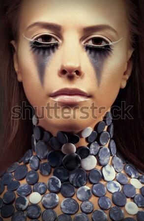 Piękna stylu elegancki dziewczyna luksusowe makijaż Zdjęcia stock © gromovataya