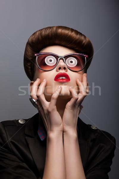 Paródia portré nő futurisztikus napszemüveg fantázia Stock fotó © gromovataya