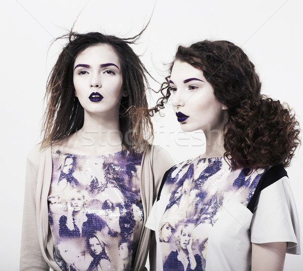 Individuality. Emo. Two Glamorous Modern Women. Trendy Brightly Makeup Stock photo © gromovataya