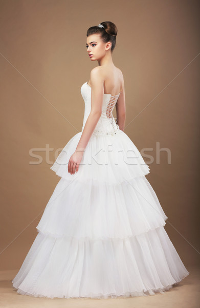Elegance. Young Bride in Long Classic Bridal Dress Stock photo © gromovataya