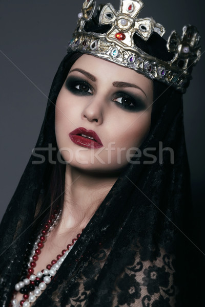 Face of Witch in Silver Crown with Jewels Stock photo © gromovataya