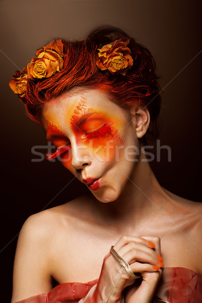 Grimace. Humorous Funny Woman with Flowers having fun. Theatrical Style Stock photo © gromovataya