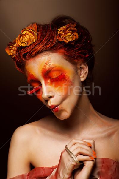 しかめっ面 ユーモラス 面白い 女性 花 ストックフォト © gromovataya