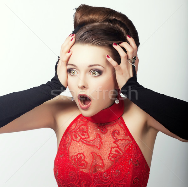 Expression. Face of Shocked Speechless Woman. Astonishment Stock photo © gromovataya