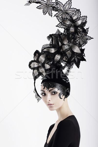 Elegáns különc nő smink kalap művészet Stock fotó © gromovataya