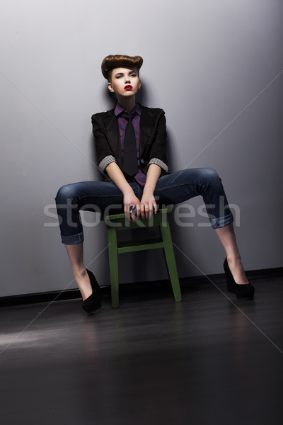 Fashion style - trendy girl mod in stylish garment. Studio shot Stock photo © gromovataya