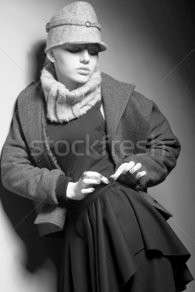 Elegant Lady in Trench and Trendy Cap - Old-fashioned Clothing Stock photo © gromovataya