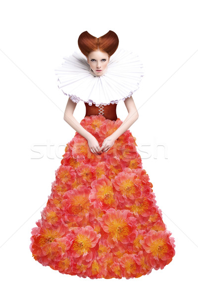 Red Hair Duchess. Retro Fashion Woman in Classic Jabot. Renaissance. Fantasy Stock photo © gromovataya