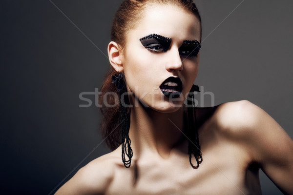 Subculture. Hippie. Emotional Face of Eccentric Person - Hipster. Creative Concept Stock photo © gromovataya