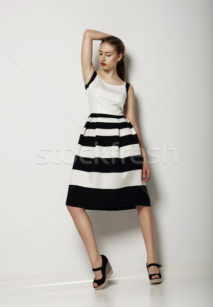 Individualism. Confident Young Woman in Contrast Light Sundress Stock photo © gromovataya
