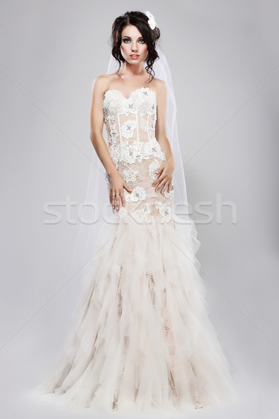 Espousal. Genuine Gorgeous Bride in Long White Bridal Dress. Wedding Style Stock photo © gromovataya