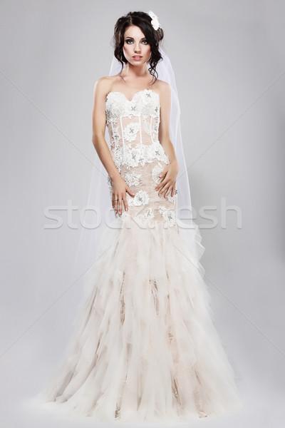 подлинный великолепный невеста долго белый Сток-фото © gromovataya