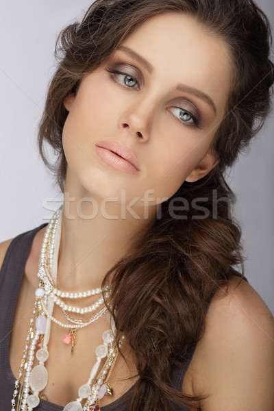 Natural Brunette with Pearly Necklace with Beads Stock photo © gromovataya
