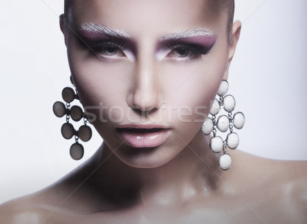 Glamor. Trendy Woman with Pearly Eardrops Stock photo © gromovataya