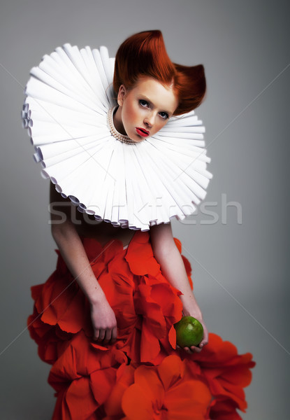 Theatre - pretty redhaired girl in jabot posing Stock photo © gromovataya